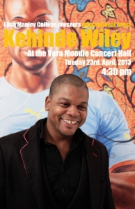 African American artist Kehinde Wiley is in Jamaica! He gave an erudite, fascinating talk at the Edna Manley College for the Visual & Performing Arts Tuesday evening.