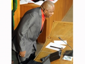 New Senate President Floyd Morris takes his seat at Friday's session. (Photo: Norman Grindley/Gleaner)