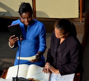 New Government Senator Sophia Frazer-Binns is sworn in on May 17th. (Photo: Jamaica Information Service)