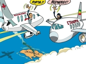 Jamaica Observer editorial cartoon showing the former Senate President crossing paths with Prime Minister Portia Simpson Miller.