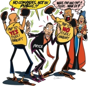 "All is not well among PNP youth - and there is Kingston's Mayor Angella ""What the F"" Brown Burke on the sidelines! (Sunday Observer editorial cartoon)"