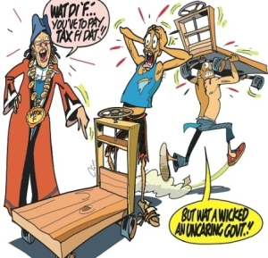 Today's Jamaica Observer editorial cartoon shows the Mayor of Kingston using her tweet expression to chastise hapless handcart operators.