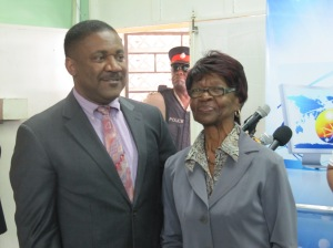 Technology Minister Phillip Paulwell with veteran educator Verna Dawkins on Teachers Day at St. Michael's Primary School. (My photo)
