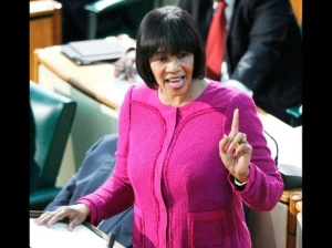 The Prime Minister making her Budget Speech yesterday. (Photo: Gleaner)