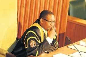 Senate President Reverend Stanley Redwood makes his  farewell remarks on Friday. (Photo: Michael Gordon/Jamaica Observer)