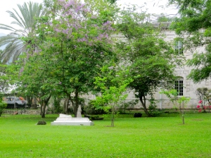 Looking from the Cottage to the Chapel on the University of the West Indies campus.