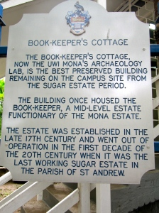 Sign outside the Book-Keeper's Cottage, built in the 1700s.