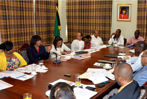 What a crowd: Prime Minister and Minister of Sport Portia Simpson Miller meets with her Sports Council to discuss a wellness center for athletes - at least eleven people are shown in this photo, but notice it's not the entire table! Jamaica Information Service caption reads:Prime Minister and Minister of Sport, the Most Hon. Portia Simpson Miller urges the National Council on Sport to examine the establishment of the state-of-the-art Wellness Centre. The Prime Minister was addressing the Council at Jamaica House recently. Participating in the meeting also were: Minister with responsibility for Sport, Hon. Natalie Neita Headley (left), Permanent Secretary in the Office of the Prime Minister (OPM), Onika Miller (3rd left) and Chief Technical Director at the OPM, Colette Roberts-Risden (4th left).