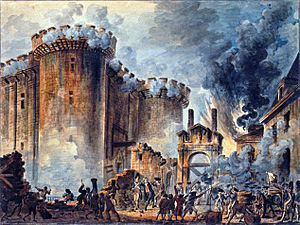 "The Storming of the Bastille in Paris, France - the height of revolutionary fervor. The morning of July 14, 1789. (Painting ""Prise de la Bastille,"" by Jean-Pierre-Louis-Laurent Houel)"