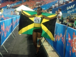 17-year-old Yanique Thompson of Holmwood Technical High School stopped the clock at a blistering 12.40 seconds to win the Girls 100m hurdles event at the World Youth Championships, breaking the world youth record. (Photo: Gleaner)