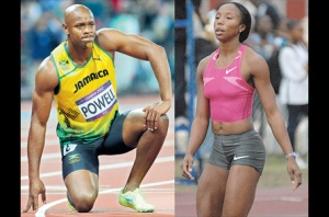 Former world record holder Asafa Powell and Olympic medallist Sherone Simpson (right) have returned positive drug tests for banned substances. (Photo: Jamaica Observer)