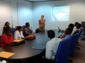 Ms. Kelly Tomblin, President/CEO of JPS, briefs young summer workers. (Photo: JPS/Twitter)