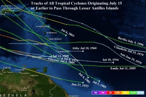 These are the ONLY hurricanes/storms ever to pass through the Caribbean  before July 15 since records began. So Chantal really IS unusual. (Graphic: www.wunderground.com)