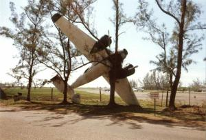 For those of you who remember, this plane was blown by Hurricane Gilbert and remained stuck in these trees for quite a while thereafter. We made jokes about it - but Gilbert was NO joke.