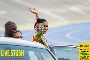 Culture Minister Lisa Hanna does the royal wave, channeling her beauty queen days I guess, on Independence Day. (Photo: LiveStush.com)