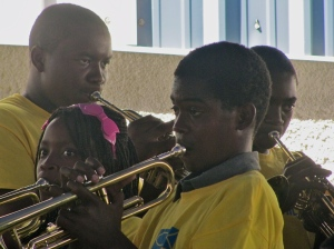Spanish Town teens played their hearts out at the closing ceremony for Food for the Poor's summer Band Camp on Friday. (My photo)
