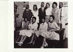 Daisy Bates posing for her photo with the Little Rock Nine. (Photo from: Prints and Photographs, Library of Congress)