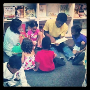 The regular Saturday Story Time for children at my neighborhood bookstore, Bookophilia.