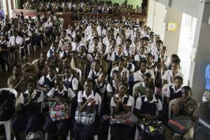 Students of Tivoli Gardens High School in Kingston at the Talk Up Yout tour sponsored by UNICEF Jamaica. (Photo: UNICEF)