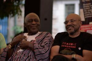 Kofi Awoonor (left) and Kwame Dawes at Storymoja in Nairobi. (Photo: Msingi Sasi)