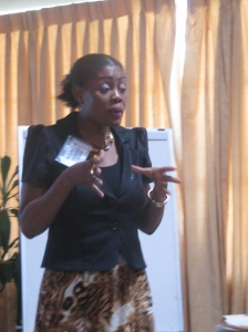 Motivational speaker and human resources specialist Marcia Skervin James talks about the importance of maintaining a mentor/mentee relationship at UTech today. (My photo)