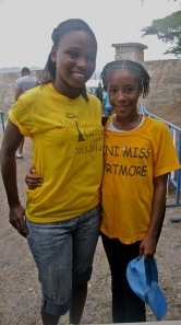 Two charming visitors to the tent: Miss Jamaica/Caribbean Most Talented Teen Josselle Fisher (left) and Miss Mini Portmore Martina Shim. (My photo)