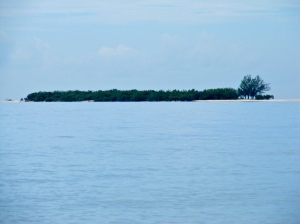Lime Cay floating on the horizon. (My photo)