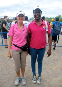 The United Nations Environment Programme's Coral Fernandez (left) and Pietra Brown looking good in pink. (My photo)