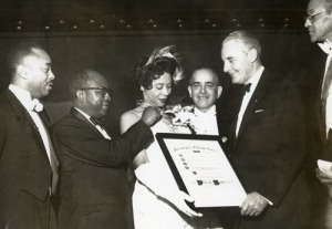 Daisy Bates receiving the Diamond Cross of Malta from The Philadelphia Cotillion Society in 1958.