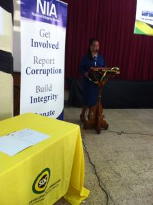 Tamika Pommells Williams talks about sustainable tourism at a National Integrity Action meeting in Montego Bay. (Photo: Facebook)