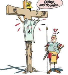 The crucifixion of the Jamaican Dollar, according to the Jamaica Observer's cartoonist. The Roman centurion is Finance Minister Peter Phillips.