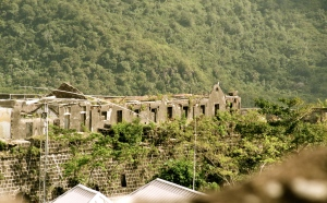 The ruined mental home near Fort Frederick. U.S. forces bombed it in 1983. (My photo)
