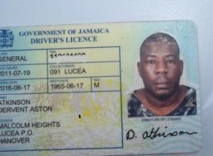 Aston Atkinson's driver's licence.