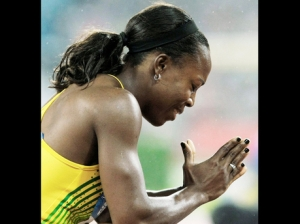 Jamaica's gold medal-winning sprinter Veronica Campbell-Brown has received a warning.