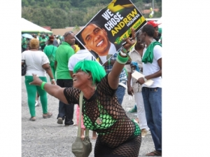 A party delegate, in dancehall gear, celebrates Mr. Holness' win at the National Stadium today. (Photo: Jermaine Barnaby/Gleaner)