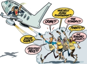 Today's Jamaica Observer editorial cartoon. Yes, the Prime Minister is off on her travels again!