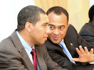 Andrew Holness (left) and former senator Christopher Tufton, who was thrown out by way of an undated letter - signed by himself. (Photo: Gleaner)