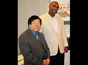 Vincent Ho Sang, CEO of Caribbean Food Delights (left) with Neil Curtis, CEO of Farm Up Jamaica, at the launch of the organisation. - Contributed