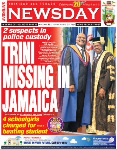 The front page of Trinidad and Tobago's Newsday newspaper last month, when Keron Martin first went missing.