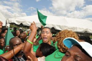 Andrew Holness rejoices with his supporters earlier today. (Photo: Jamaica Observer)