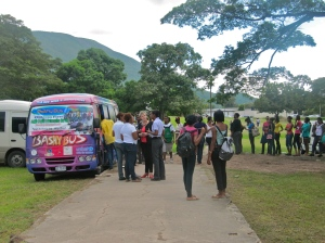 """The lines for free testing and counseling were consistently long all day. This is the """"Bashy Bus"""" from the NGO Children First."""