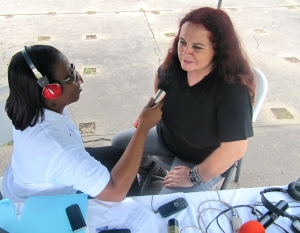 And here's me, being interviewed by the community radio station Roots FM.