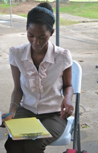 Our patient and diligent note-taker Raquel.