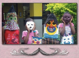 Making masks from papier-mâché and cloth… All the children's original designs!