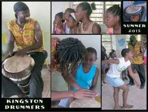 Members of the Kingston Drummers had a lively session with the children in the summer.
