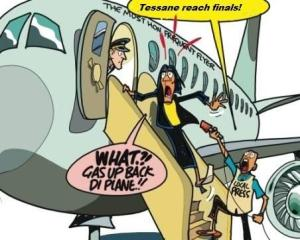"A ""Jamaica Observer"" editorial cartoon. The well-traveled Prime Minister, on hearing that singer Tessanne Chin has reached the finals in ""The Voice,"" asks the pilot to prepare for takeoff so that she can fly off to be there in person..."