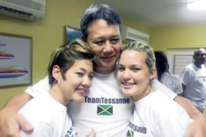 A loving Dad: Mr. Chin with Tessanne (left) and Tami. Sweet photo!