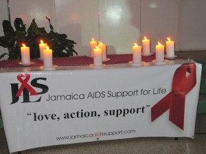 Candles lit at this evening's World AIDS Day vigil. (My photo)
