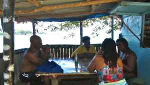 """Eating a food"" at Neville's establishment on the beach. (My photo)"
