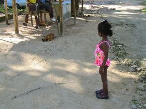 A little girl and a sleeping dog. (My photo)